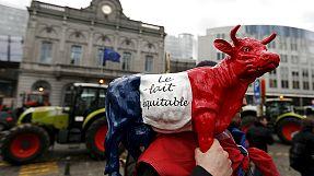 Manifestación en Bruselas contra el fin de las cuotas lácteas