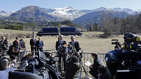 Germanwings and Lufthansa bosses refuse questions about co-pilot during visit to crash site