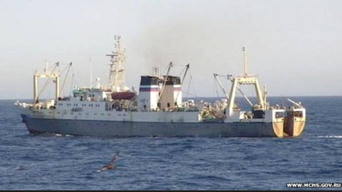 Russian trawler sinks in freezing Western Pacific Ocean