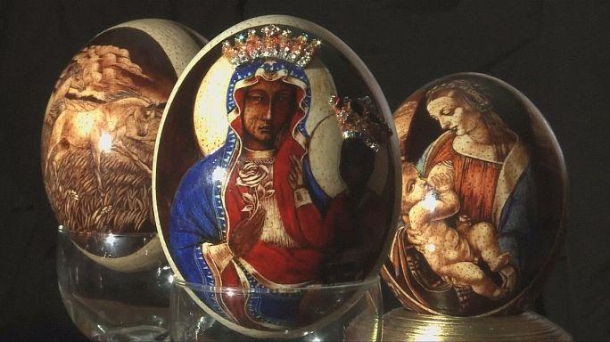 Madonna- és Krisztus-ábrázolások húsvéti tojásokon