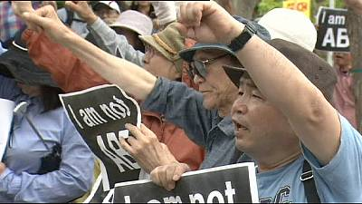 Protestas contra la base militar estadounidense en Okinawa