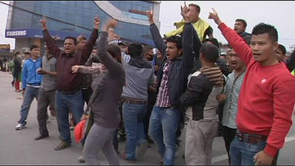 Confrontation between police and protesters in Nepal