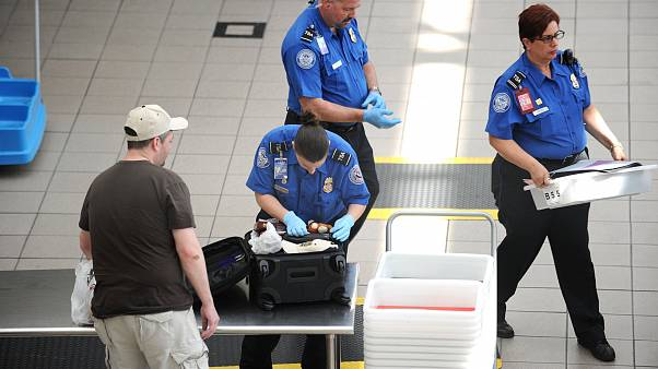 Image: A Transportation Security Administration (TSA) agent checks the lugg