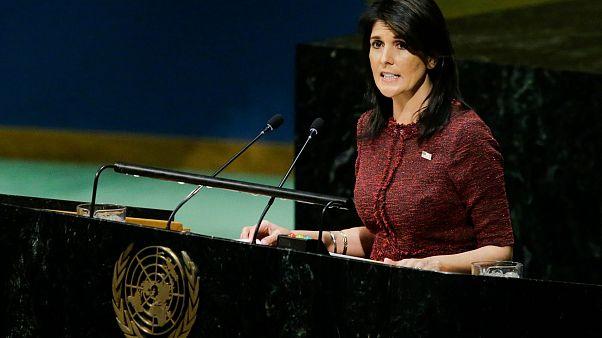 Image: United States Ambassador to the United Nations Nikki Haley addresses