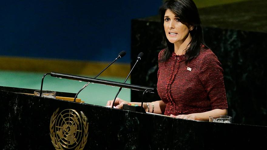 Image: United States Ambassador to the United Nations Nikki Haley addresses