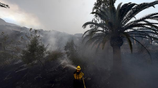 Image: A firefighter puts out hotspots on a smoldering hillside in Montecit