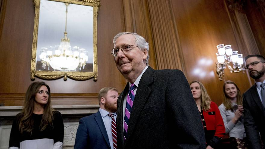 Image: Senate Majority Leader Mitch McConnell of Kentucky, arrives to sign