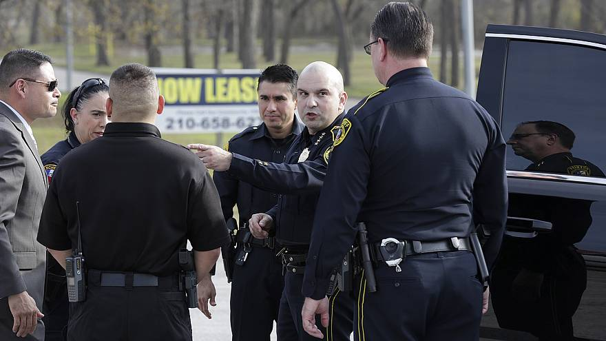 Image: Bexar County Sheriff Javier Salazar gives direction to deputies near