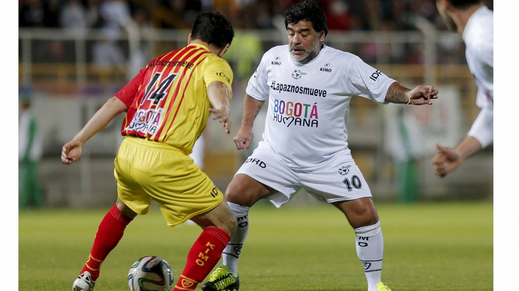 Maradona makes his mark in Colombian peace charity match