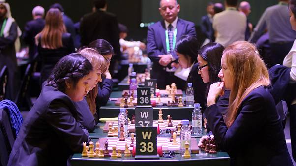 Image: Chess players compete at the King Salman Rapid and Blitz Chess Champ