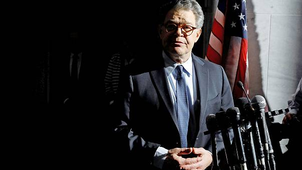 Image: Senator Franken addresses the media outside his office on Capitol Hi