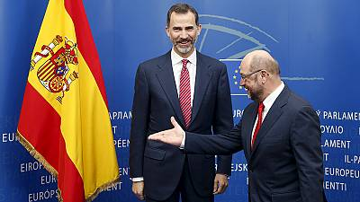 King Felipe VI of Spain receives box set of 'Game of Thrones' on a visit to Brussels