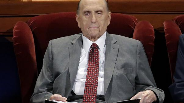 Thomas M. Monson, president of the Church of Jesus Christ of Latter-day Saints, at the two-day Mormon church conference in Salt Lake City on April 1, 2017.