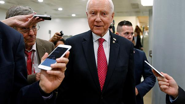 Image: Senator Orrin Hatch (R-UT) speaks to reporters after the Senate appr
