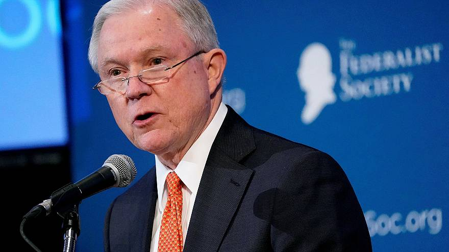 Image: U.S. Attorney General Jeff Sessions speaks at the Federalist Society