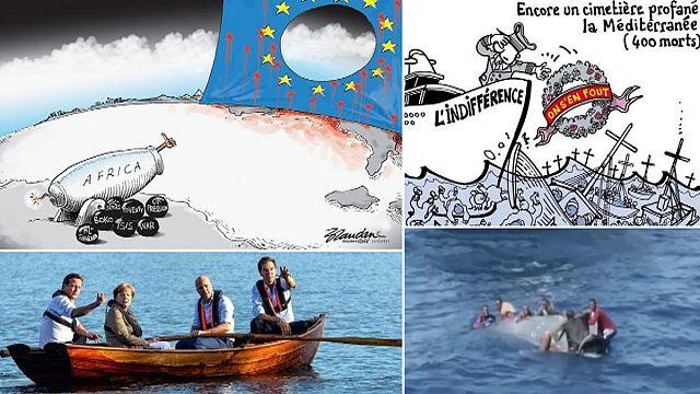 قضية المهاجرين والمتوسط وغياب الاتحاد الاوروبي في رسوم كرتونية