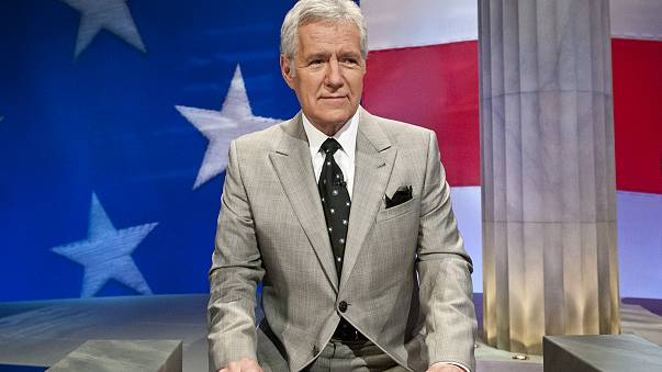 Image: Alex Trebek speaks during a rehearsal