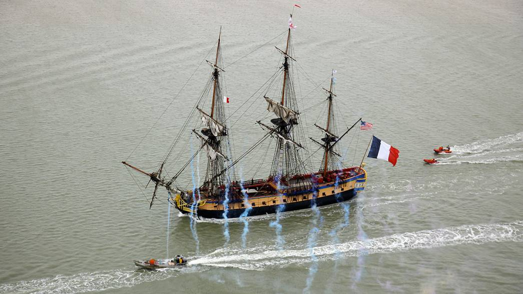 Hip hip Hermione as Lafayette's ship sets sail for America again