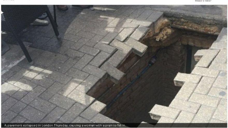 Londra'da kaldırımda yürüyen kadın bu dev çukura düştü
