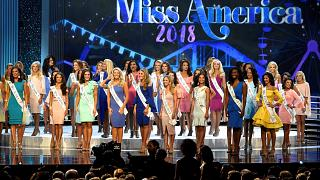 Image: Contestants compete in the Miss America competition in Atlantic City