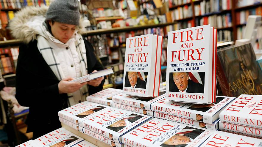 """Image: Copies of the book """"Fire and Fury: Inside the Trump White House"""""""