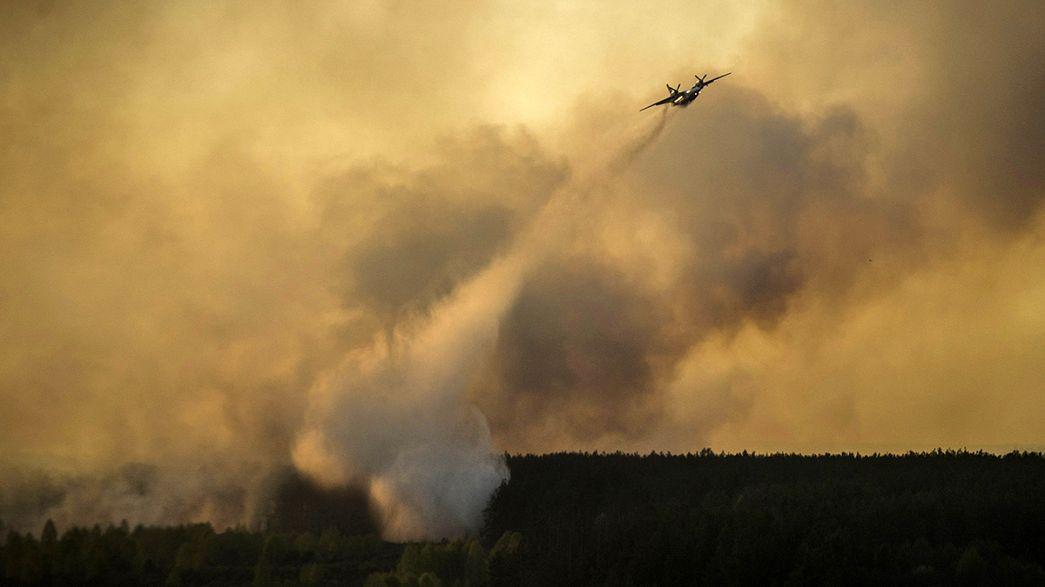 حريق غابة شمال أوكرانيا يهدد منطقة تشيرنوبيل النووية