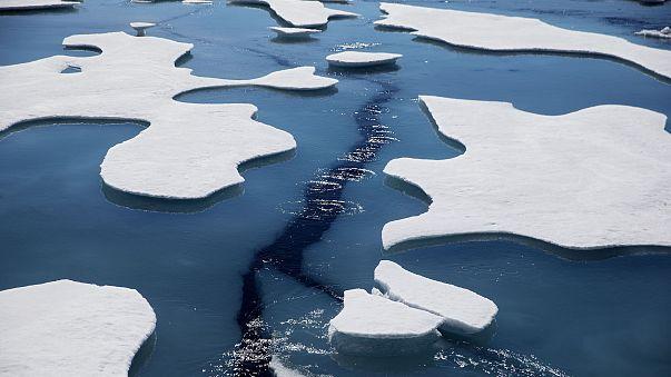 Sea ice breaks apart as the Finnish icebreaker MSV Nordica traverses the Northwest Passage through the Victoria Strait in the Canadian Arctic Archipelago.