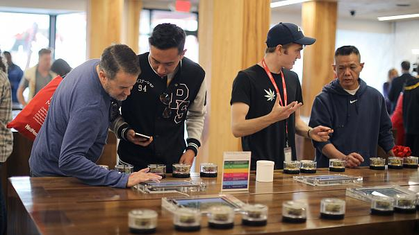 Recreational marijuana is displayed for sale at the MedMen store in California. Los Angeles marijuana dispensaries say that, because of delays in getting approval from Los Angeles, they are losing out to competitors like MedMen, located in neighboring Wes
