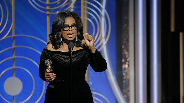 Oprah Winfrey accepts the 2018 Cecil B. DeMille Award at the 75th Annual Golden Globe Awards at The Beverly Hilton Hotel Sunday night in Beverly Hills.