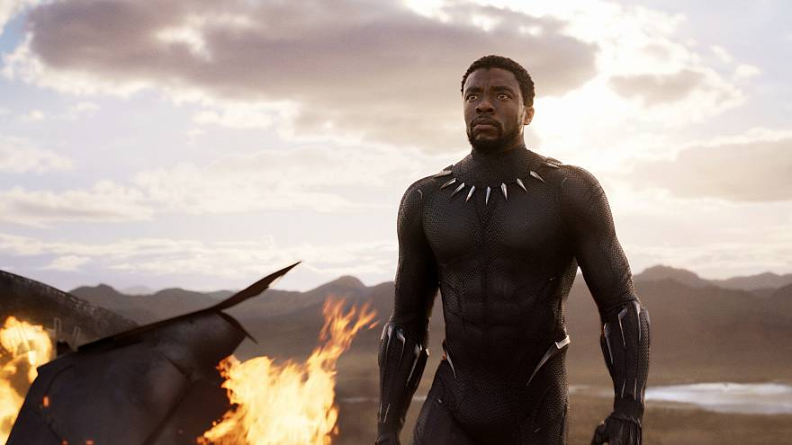"Image: Chadwick Boseman in a scene from ""Black Panther,"" in theaters on Feb"