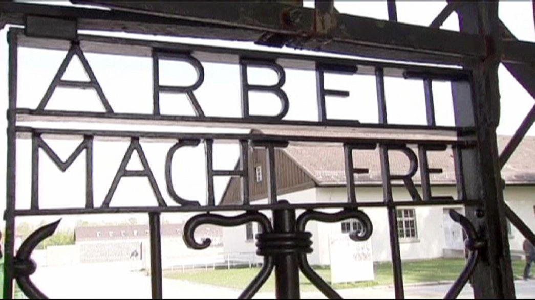 Replica of Nazi camp gate installed at Dachau