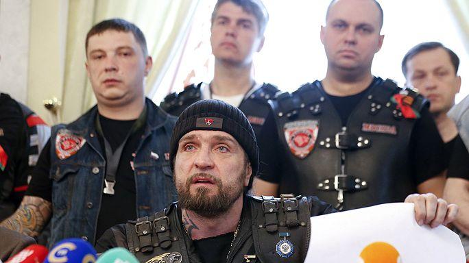 Nationalist Russian bikers visit Auschwitz
