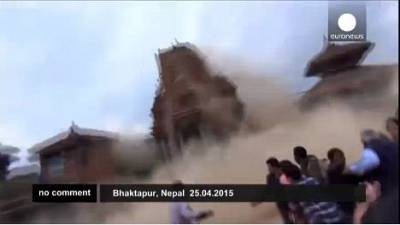 Nepal earthquake: tourist's footage shows ancient temples crumbling