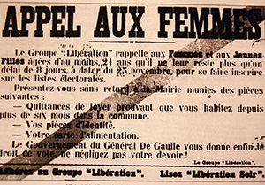 Campagne appelant les femmes à s'inscrire sur les listes électorales, 1944
