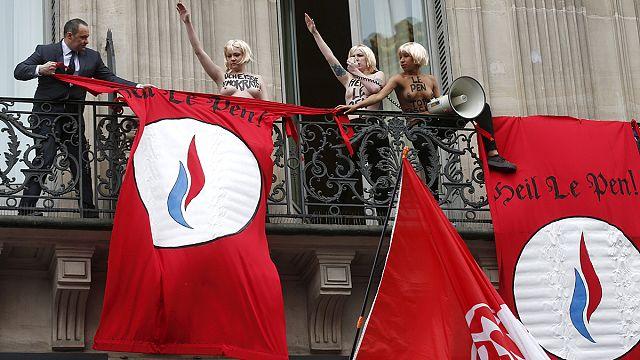 Femen kadınları Ulusal Cephe'nin 1 Mayıs gösterilerini bastı