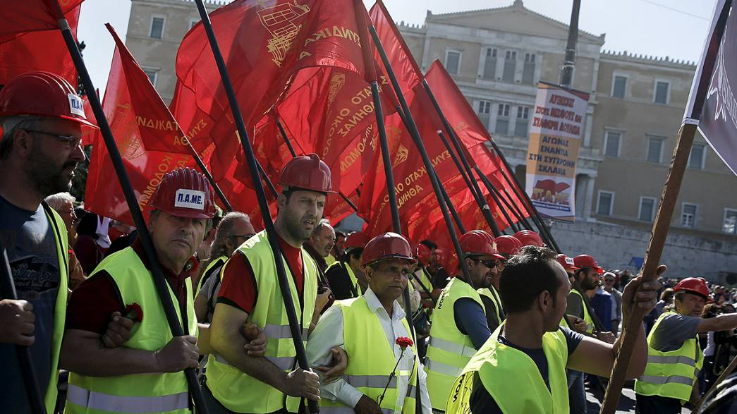 May Day marches in Athens, Madrid and Moscow