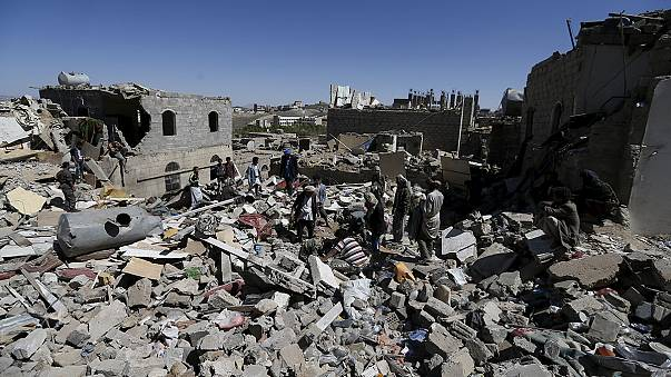 Saudi Arabian-led air strikes hit a residential area of the Yemeni capital Sanaa