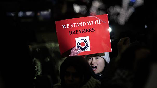 "Activists rally for the passage of a ""clean"" Dream Act, one without additional security or enforcement measures, outside the New York office of Sen. Chuck Schumer (D-NY), on January 10, 2018 in New York."