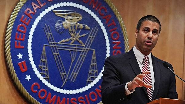 Federal Communications Commission Chairman Ajit Pai speaks to members of the media after a commission meeting on Dec. 14, 2017 in Washington, D.C.