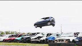 Car jumpers compete in English countryside