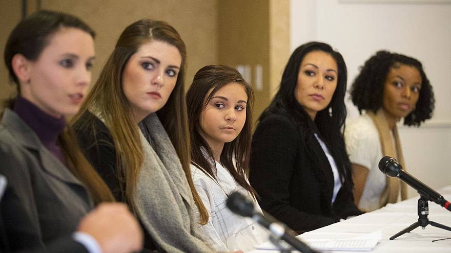 Image: Larry Nassar's former patients hold a press conference