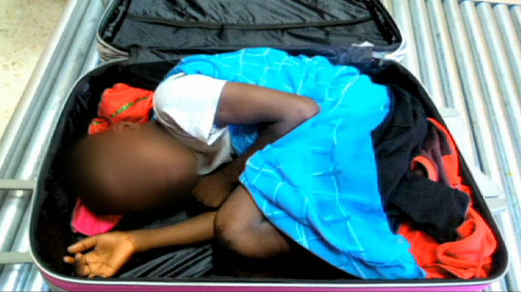 [Watch] Shocking images of child hidden in suitcase at Spanish border crossing