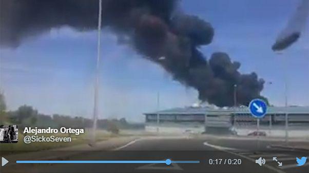 Military plane crashes in Seville, Spain