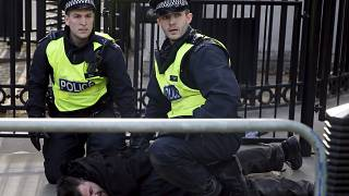London: anti-Cameron demonstrators clash with riot police