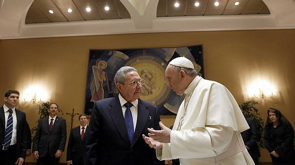 Cuba president Raul Castro visits Pope Francis