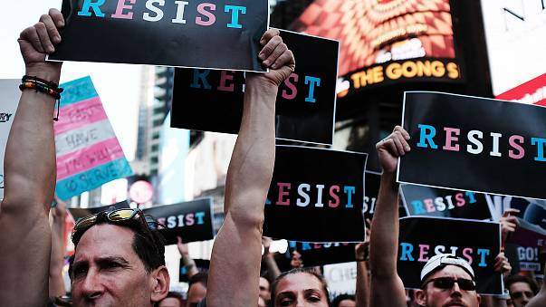 Image: Anti-Trump Protesters Demonstrate In Times Square Against Trump Anno