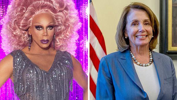 Image: RuPaul and Nancy Pelosi.