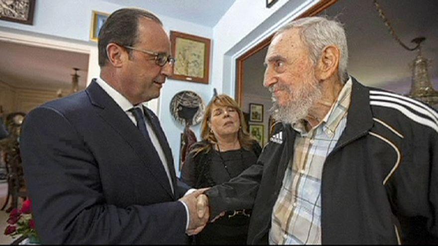 Hollande se reúne con Fidel Castro y pide el fin del embargo estadounidense