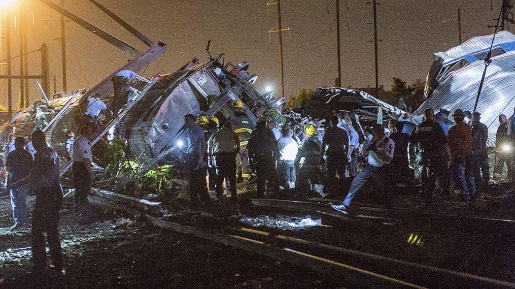 Al menos 5 muertos y medio centenar de heridos al descarrilar un tren en Filadelfia