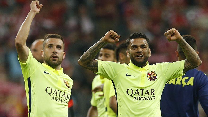 Jubilant Barcelona fans celebrate Champions League win